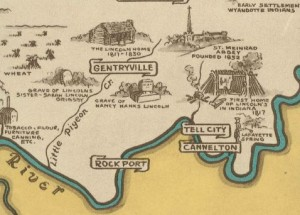 Lincoln sites - Indiana map