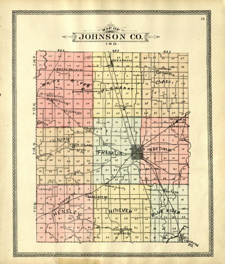 Johnson County Plat Map Digitizing Indiana Atlases and Maps   Indiana State LibraryIndiana