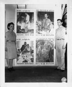 Technician 5th grade Norma Boudreau and Master Sergeant Louis Dovilla with posters of Norman Rockwell's Four Freedoms, July 12, 1943