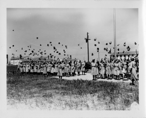 A graduating class of WACs celebrating their induction into the U.S. Army, August 10, 1943